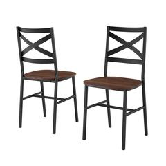 Industrial Wood Dining Chair, Set of 2 - Dark Walnut