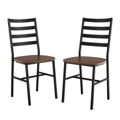 Slat Back Metal and Wood Dining Chair, 2-Pack - Dark Walnut
