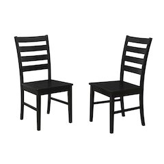 Wood Ladder Back Dining Chair, Set of 2 - Black