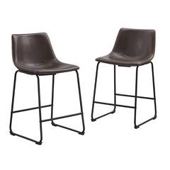 Brown Faux Leather Counter Stools - Set of 2
