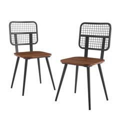 Industrial Mesh Back Dining Chair, Set of 2 - Dark Walnut