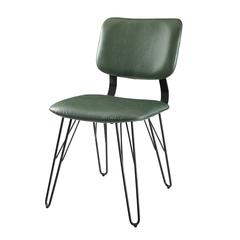 Mid Century Modern Accent Dining Chair with Black Edge Stitching, set of 2 - Green