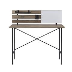 "42"" Modern Slat Back Adjustable Storage Writing Desk - Grey Wash"