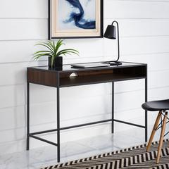 "42"" Metal and Wood Desk with Glass and Shelf - Dark Walnut"