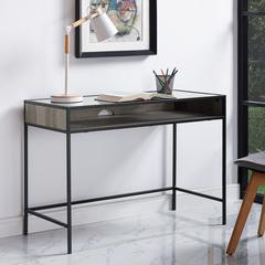 "42"" Metal and Wood Desk with Glass and Shelf - Grey Wash"