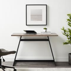 "42"" Urban Industrial Metal Wrap Writing Computer Desk - Grey Wash"