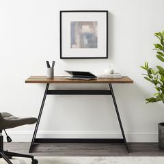 "42"" Urban Industrial Metal Wrap Writing Computer Desk - Rustic Oak"