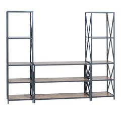 3-Piece Rustic Industrial Bookcase Set - Barnwood