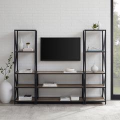 3-Piece Rustic Industrial Bookcase Set - Grey Wash