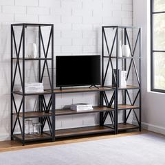 3-Piece Rustic Industrial Bookcase Set - Rustic Oak