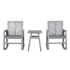 3-Piece Outdoor Rocking Chair Chat Set - Grey Wash