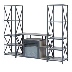 3-Piece Rustic Fireplace TV Stand Set - Grey Wash