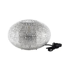 "8"" Hand-Crafted Globe Sparkle Table Lamp - Nickel"