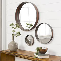 Banded Round Copper Mirrors - Set of 3