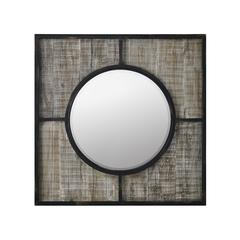 """32"""" Farmhouse Square Metal and Wood Wall Mirror"""
