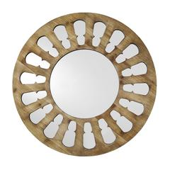 """32"""" Rustic Farmhouse Round Wood Cut-Out Wall Mirror – Natural Wash"""