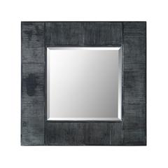 """32"""" Urban Industrial Square Textured Wood Wall Mirror"""