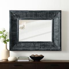 "36"" Urban Industrial Rectangle Textured Wood Wall Mirror"