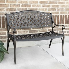 "42"" Cast Aluminum Wicker Style Bench - Antique Bronze"