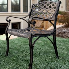 Antique Brown Cast Aluminum Patio Chairs, Set of 2