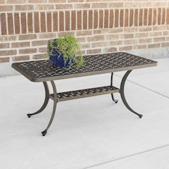 Cast Aluminum Wicker Style Coffee Table - Antique Bronze