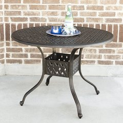 "42"" Round Cast Aluminum Dining Table - Antique Bronze"