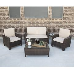 4-Piece Woven Wicker Modern Chat Set - Brown