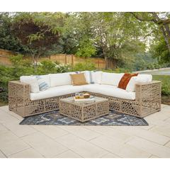 Random Weave Box Sectional with Cushions - Natural