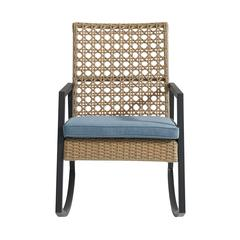 Modern Patio Rattan Rocking Chair - Light Brown/Blue