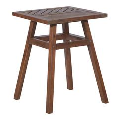 "18"" Solid Acacia Wood Chevron Outdoor Side Table - Dark Brown"