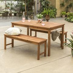 Acacia Wood Classic Patio 3-Piece Dining Set - Brown