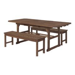 3-Piece Extendable Outdoor Patio Dining Set - Dark Brown