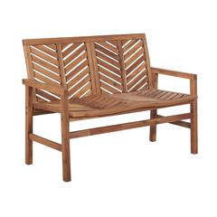 "48"" Solid Acacia Wood Chevron Outdoor Loveseat Bench - Brown"