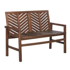 "48"" Solid Acacia Wood Chevron Outdoor Loveseat Bench - Dark Brown"
