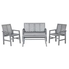 4-Piece Chevron Outdoor Patio Chat Set - Grey Wash