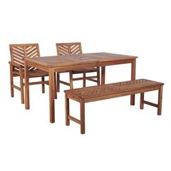 4-Piece Chevron Outdoor Patio Dining Set - Brown