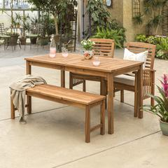 Acacia Wood Classic Patio 4-Piece Dining Set - Brown