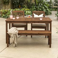 Acacia Wood Classic Patio 4-Piece Dining Set - Dark Brown