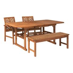 4-Piece Extendable Outdoor Patio Dining Set - Brown
