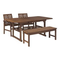 4-Piece Extendable Outdoor Patio Dining Set - Dark Brown