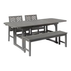 4-Piece Extendable Outdoor Patio Dining Set - Grey Wash