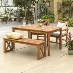 Acacia Wood X-Back Classic Patio 4-Piece Dining Set