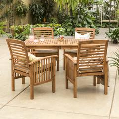 Acacia Wood Classic Patio 5-Piece Dining Set - Brown