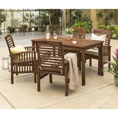 Acacia Wood Classic Patio 5-Piece Dining Set - Dark Brown