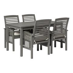 5-Piece Simple Outdoor Patio Dining Set - Grey Wash