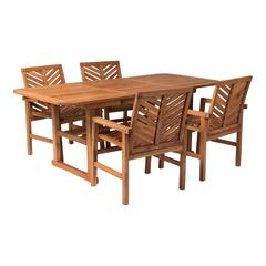5-Piece Extendable Outdoor Patio Dining Set - Brown