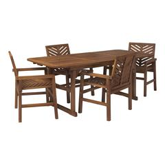 5-Piece Extendable Outdoor Patio Dining Set - Dark Brown