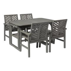 5-Piece Extendable Outdoor Patio Dining Set - Grey Wash
