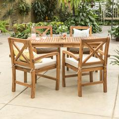 Acacia Wood X-Back Classic Patio 5-Piece Dining Set