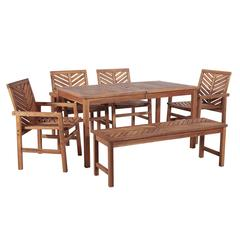 6-Piece Chevron Outdoor Patio Dining Set - Brown